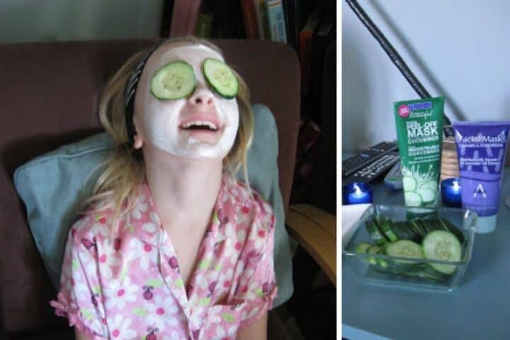 A collage with a young girl wearing a face mask with cucumbers over her eyes and a detailed shot of a table with different face masks and cucumber slices