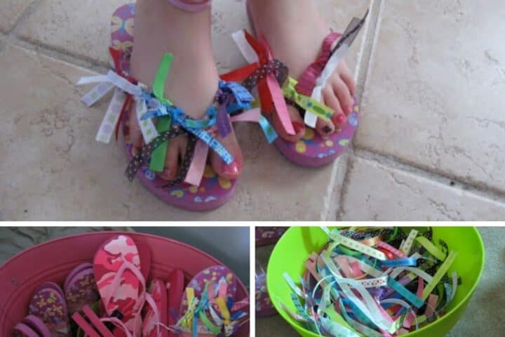 A collage showing ribbon flip flops made as a craft at a kids spa party for little girls. The photos show the completed flip flops, as well as the original flip flops in a bucket and a bucket of ribbon scraps to use in the activity.